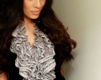Romantic Gray Scarf, Knit Scarf, Winter Scarf, Gray Scarves