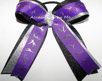 Bulk Gymnastics Bow, Sparkly Purple Dance Bow, Purple Ponytail Holder, Purple Black Silver Metallic Ribbons, Gymnast Gym Wholesale Gifts Bow
