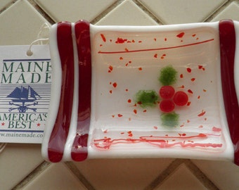 Holly Berry Fused Glass Soap Dish