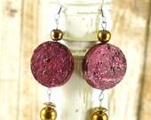 Red wine cork earrings - ...