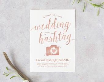 Rose Gold Hashtag Sign Printable // Wedding Hashtag Sign Download // Rose Gold Wedding Signs // Hashtag Wedding Printable