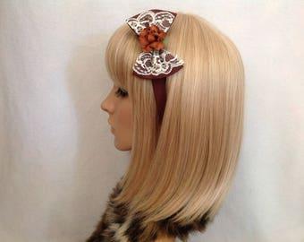 Brown lace rose headband hair bow rockabilly psychobilly sugar gothic Lolita cute pin up girl vintage shabby chic pretty kawaii kitsch