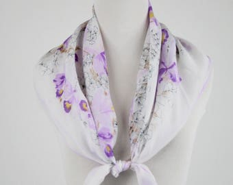 1950s Purple Orchid Square Rayon Scarf