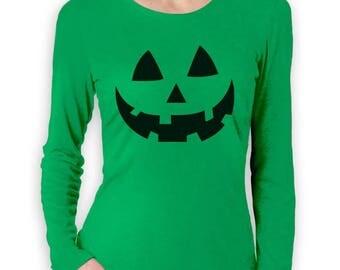 Smiling Pumpkin Face - Easy Halloween Costume Fun Women Long Sleeve T-Shirt