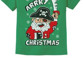 Arrry Christmas Cute Pirate Santa Ugly Xmas Toddler Kids T-Shirt