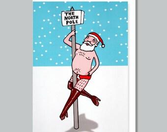 naughty santa funny christmas card christmas card funny greeting cards christmas gift