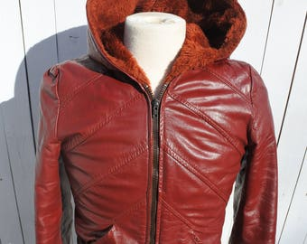 Red Moto Jacket, RUN DMC Style, Leather Hoodie