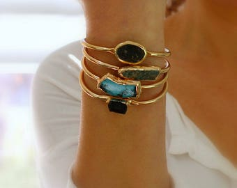 Turquoise Cuff Bracelet, turquoise, Gift, Raw Turquoise,clothing gift, Turquoise Bracelet,Gold Cuff Bracelet, Turquoise Jewelry, Gold Bangle