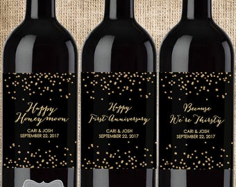 Wedding Milestone Wine Labels, Milestone Wine Labels, Year of First Wine Bottle Labels, Marriage Milestones, First Anniversary Gift, Firsts