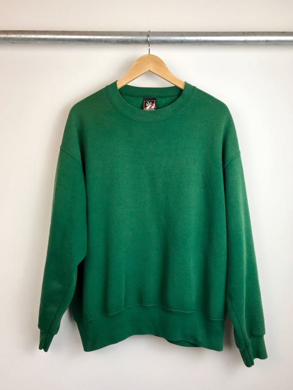 Vintage Men's Green Crew Neck Sweatshirt