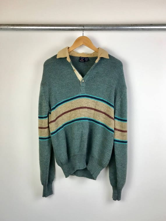 Vintage Corduroy Collar Henley Knit Sweater