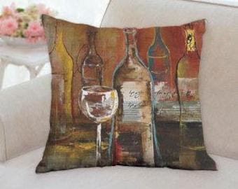 Wine Bottles Pillow