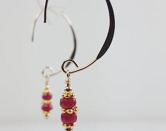 Ruby Earrings | July birthstone earrings | Elegant V-shaped Earwire | Dangle earrings | Drop earrings | Gold or Silver
