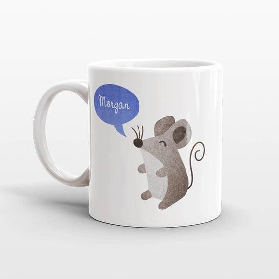 Custom Name Mug, Mouse Mug, Personalized Mug, Unique Coffee Mug, Office Mug, Best Friend Gift, Birthday Gift, Cute Animal Lover Gift