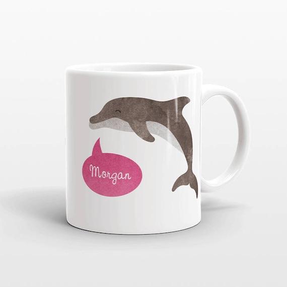 Dolphin Mug, Custom Mug, Name Mug, Personalized Mug, Dolphin Coffee Mug, Dolphin Gift for Self, Personalized Gift, Birthday Gift for Her