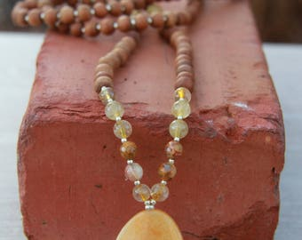The Golden Healer Mala - Yellow Quartz Mala- One of a Kind -  Meditation Inspired Yoga Beads/ mala beads