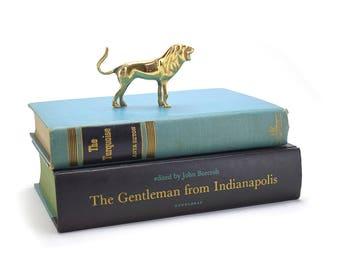 Vintage Brass Lion Figurine - African Safari Gold Animals - Children Nursery - Hollywood Regency Mid Century - Man Cave Gift Wizard of Oz