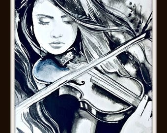 Music Inspired Watercolor Painting, Illustration by Lana Moes, Girl and Violin Painting, Performing Art, Gift for Musician, Art Collectors