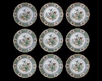 Set 9 French Sarreguemines Montmorency Chinoiserie Dinner Plates - c. 1875 - 1900, France