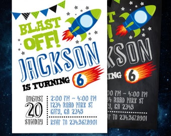 Rocket Invitation, Space Invitation, Outer space invitation, Astronaut Invitation, Outer space birthday party, 2 options, Digital