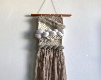 Fluffy Neutral-Toned Woven Wall Hanging