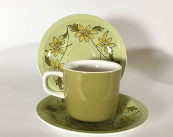 Mikasa Pastelle Cup and Saucer Set, Joy Pattern, Green and Yellow, Flowers, 1970s