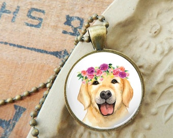 Yellow Lab Pendant, Yellow Labrador Glass Necklace, Dog and Flowers Pendant, Floral Dog Pendant, Floral Dog Necklace