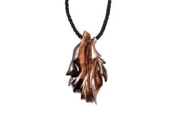Wolf Necklace, Wolf Pendant, Wooden Wolf Necklace, Men Wolf Necklace, Wolf Jewelry, Howling Wolf Pendant, Totem Wolf, Spirit Animal Pendant