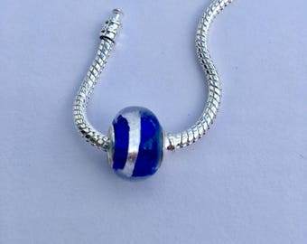 Pandora Style Glass Bead | Sapphire Blue  and Silver