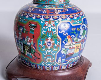 Vintage Home Decor Chinese Cloisonné Brass Enamel Ginger Jar With Lid Red Green Blue Panel Decorative Prunus Blossoms Scrolls With Wood Base