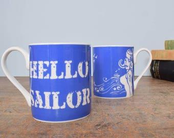 "Bone china mug with ""Hello Sailor"" design"