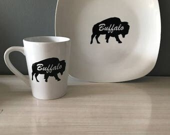 Buffalo NY  Dinner Plate and Coffee Mug Set