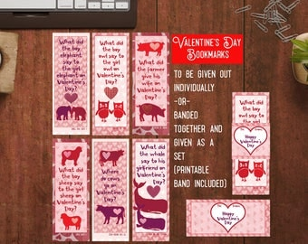 Kids Valentine cards for school Funny valentines farm Valentine Jokes School valentines for kids pdf Printable Bookmarks for students