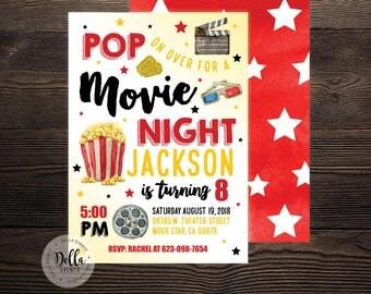 Movie Birthday Invitation, Movie Invitation, Movie Invite, Movie, Movie Night, Hollywood, Theater, Outdoor Movie, Birthday Party, Popcorn