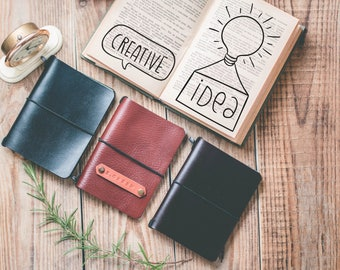 50%OFF Personalized journal / Pocket notebook / Leather sketch book / Cute writing journal / Sketchbook cover /