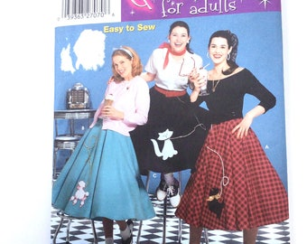 Simplicity 5403 Womens Poodle Skirt Costume Pattern Cat 1950s Style Size 14