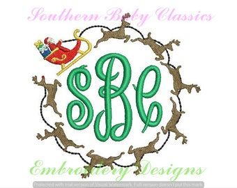 Santa Reindeer Sleigh Circle Monogram Frame Fill Design File for Embroidery Machine Instant Download Christmas