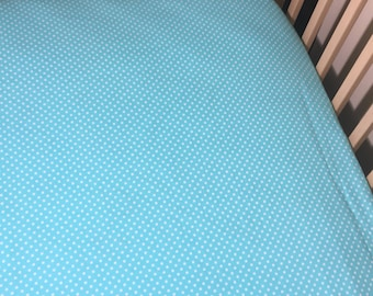 Fitted Crib Sheet - Aqua with White Pindots