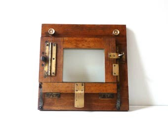 Photo Frame Antique Brass and Wooden Frame Industrial Decor Antique contact Print Frame 19th Industrial Picture frame