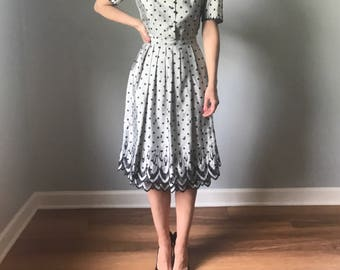 vintage 50s dress   50s polka dot dress   grey & black dress   puff sleeve dress