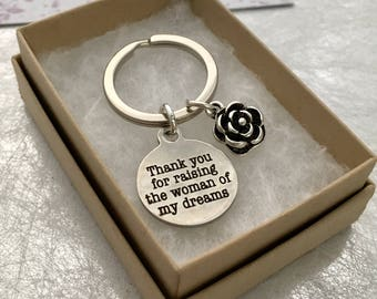 Thank you for raising the woman of my dreams gift, Mother of the Bride Keyring, Wedding gift for the Mother of the Bride