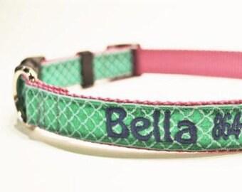 Personalized Dog Collar - Mermaid Dog Collar - 1 inch wide - Adjustable Dog Collar - aqua/green - made to order