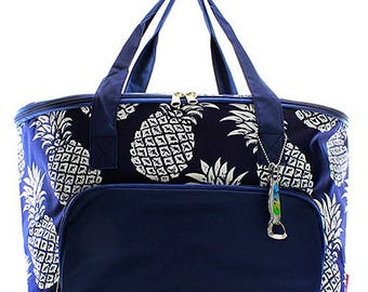 Personalized Navy Pineapple Large Cooler Bag Monogrammed Insulated Tote