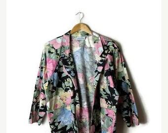 ON SALE Vintage Black x Pink/Blue Floral Printed Cotton Blazer/Light Jacket from 1980's*