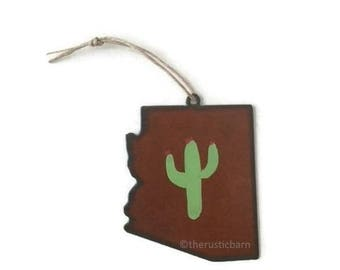 ARIZONA hand painted CACTUS Ornament with made of Rustic Rusty Rusted Metal