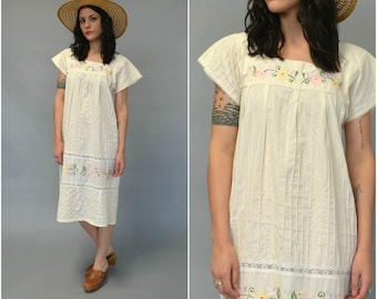 1970s ivory embroidered cotton caftan dress