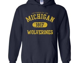 Michigan Wolverines Athletic Arch Logo Hoodie - Navy