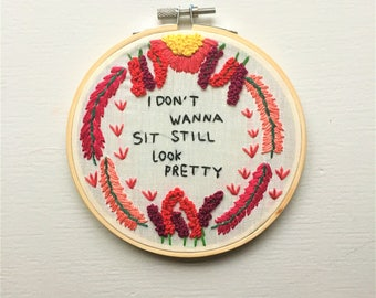 sit still look pretty hand-embroidered decorative 5-inch hoop