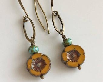 Mustard Yellow Glass Flower Earrings   Bohemian Earrings