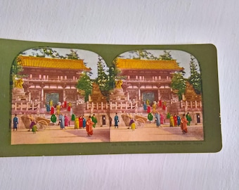 Gion Temple KyotoTraveler Antique Stereopticon Stereoscope Stereo Viewer Slide Card --- Vintage Japanese Culture Asia History Photograph